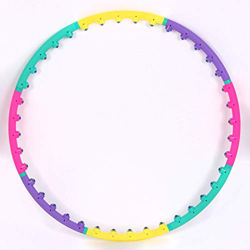 JUANLIAN Hula Hoop Adult Magnet Masaje Desmontable 8 Secciones Tamaño Ajustable Hula Hoop