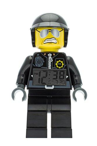 LEGO Movie 9009952 Bad Cop Kinder-Wecker mit Minifigur und Hintergrundbeleuchtung , schwarz/grau , Kunststoff , 24 cm hoch , LCD-Display , Junge/ Mädchen , offiziell (Watch Lego Movie)
