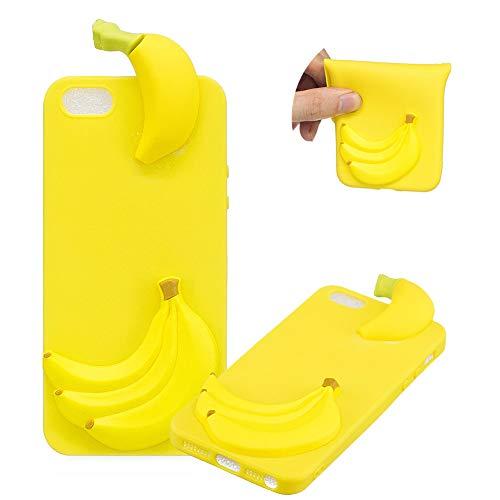 TPU Hülle für iPhone SE,Weich Silikon Hülle für iPhone 5S,Moiky Komisch 3D Banana Entwurf Ultra Dünnen Scratch Resistant Soft Rückseite Abdeckung Handyhülle