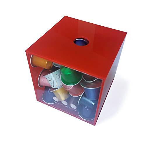 Porta capsule cubo con coperchio rosso in plexiglass made in italy 16 cm