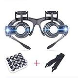 2.5X 4X 6X 8X 10X 15X 20X 25X LED Licht Stirnband Lupe, Lupenbrille LED Kopfband Lupen Stirnband Brille Lupen Verstellbare mit Linsen für das Lesen, Schmuck Lupe, Uhr,...