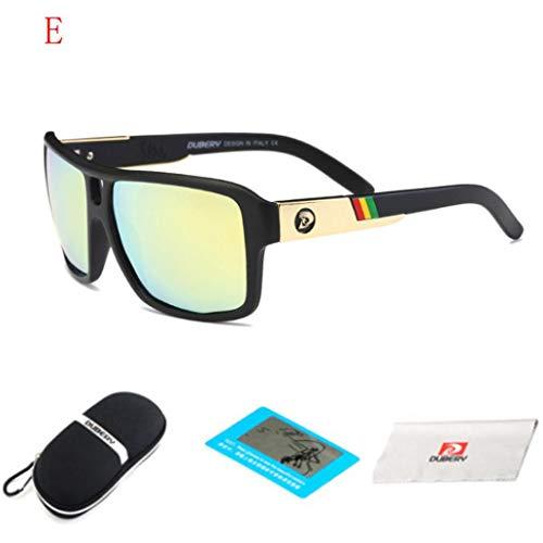 bescita DUBERY Herren Retro Vintage Sonnenbrille im angesagte Browline-Style mit markantem Halbrahmen Sonnenbrille, Brillen Trends 2018 (E)