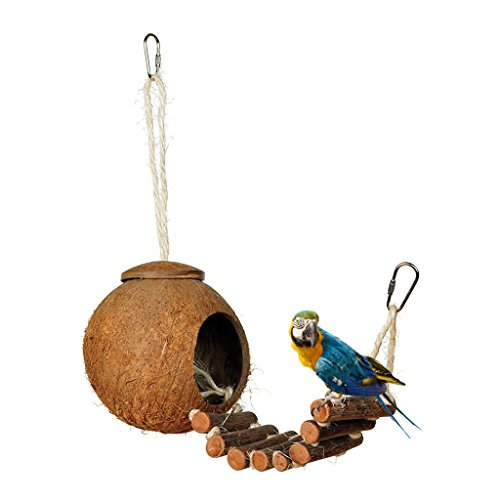 niumanery Natural Coconut Shell Bird Nest House Hut Cage Feeder Pet Parrot Parakeet Toy