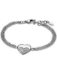 c05e33accee1 Pulsera Lotus Style Mujer de acero con corazón de circonitas