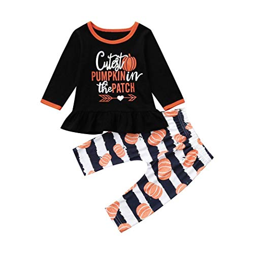 Lazzboy Halloween Baby Mädchen Kostüm Kürbis Print Spruch Top Langarm Outfits Set 2PCS Kleidung Set(Orange,18~24M)