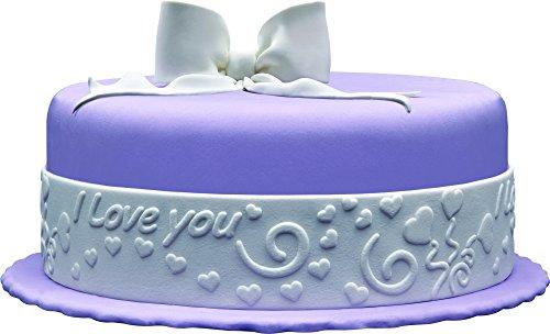 Cake Company Fondantrand   gebrauchsfertige Fondant Bordüre: 1,25m lang x 5cm breit   1 Stück   Fondant-Band in Weiß   Tortenband mit Herzen &...