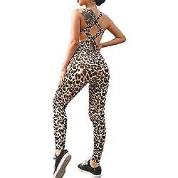Legging De Sport Femme,Combinaison Femme,Trousers Pants De Sport Imprimé LéOpard,Leggings Workout Mode Fitness Gym Sports(Noir,Large )