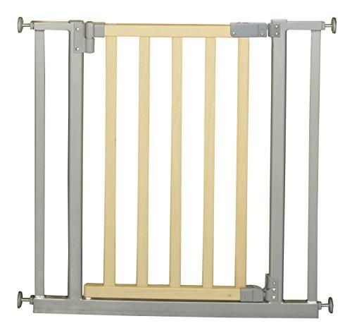 Roba 1547 - Türschutzgitter Metall/Holz Verstellbreite 77-86 cm, Tür mit einem Handgriff zu öffnen, Befestigungsmöglichkeit ohne Bohren, silber