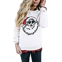 Geili Weihnachts Pullover Tops Damen Weihnachtsmann Drucken Santa Sweatshirt Frauen O-Ausschnitt Langarm Große... preisvergleich bei billige-tabletten.eu