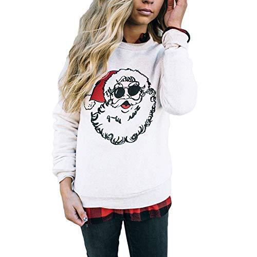 Damen Weihnachtspulli Sweatshirt Elegant Frauen Weihnachten Kostüm Casual Rundhals Langarmshirts Tops Weihnachtsmann Drucken Pullover Bluse Oberteil, Weihnachten Geschenk, ()