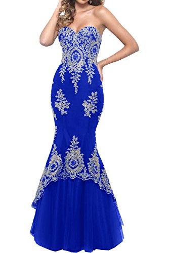 Charmant Damen Tuerkis Spitze Abendkleider Langes Ballkleider Meerjungfrau Promkleider Abschlusskleider Royal Blau