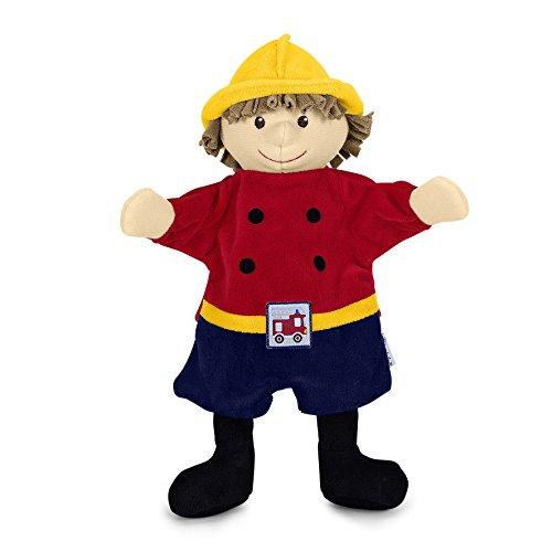 Handpuppe Feuerwehrmann, rot/blau/gelb (Feuerwehrmann Rot)