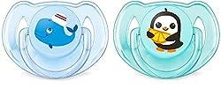 Philips Avent Klassik Design Schnuller 6-18 Monate SCF169/37, Doppelpack, Jungen, Wal/Pinguin