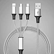 Multi USB Charger Cable, 3 in 1 Nylon Braided Multiple USB Fast Charging Cable Port Connectors Compatible with