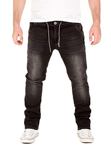 WOTEGA Herren Sweathose in Jeansoptik Slim-Fit Joshua, Schwarz (Phantom Black 4205), W29/L32