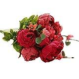 JUNGEN Bouquet de Fleur de pivoine Fleur artificielles Floral Plastique Printemps Fausse fleur Decoration pour Maison Mariage Fête (Rouge)