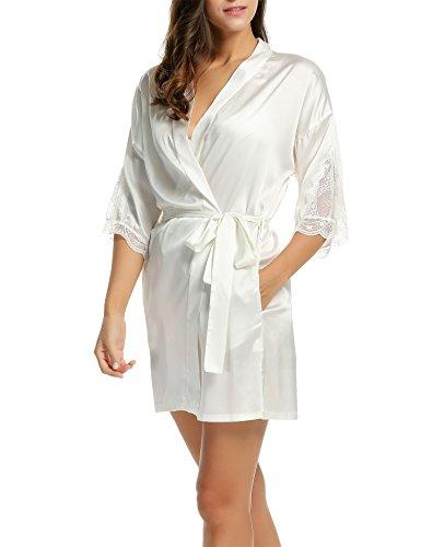 HOTOUCH Damen Satin Kimono Nachthemd Nachtwäsche Pyjama Set Morgenmantel Bademäntel Schlafanzüge Mit Tiefer V-Ausschnitt Blumenspitze Typ1-Weiß