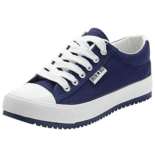 Oasap Women's Casual Low Top Flat Platform Sneakers Deep Blue