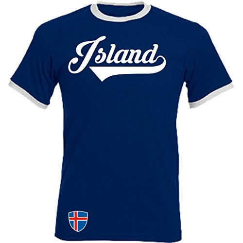 Island Ringer Retro TS - Navy - WM 2018 T-Shirt Trikot Look (S) -