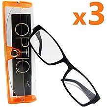 x3 Gafas de lectura de presbicia Optiq graduadas Gafas de lectura +1.50 lentes graduadas de dioptría con montura negra unisex para hombres y mujeres