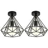 XZANTE 2Pcs Plafonnier Industrielle Cage Forme Diamant Noir Lustre Suspension En...