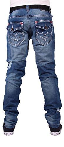 Peviani Herren Jungen Oxford Star Slim Fit Dick Naht Jeans Hip G Time Is Hop Money Steingewaschen Blau