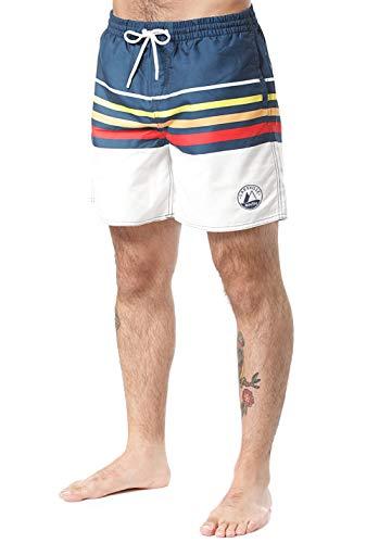 Lakeville Mountain Herren Badeshorts AWASA Stripes |Gestreift| Regular Fit|Badehose schnell trocknendes Material, Boardshorts| Blau, L