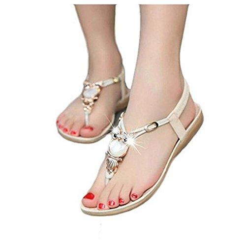 Encounter Damen Sommer Schuhe Strandschuhe Offene T-Spangen Sandalen Knöchelriemchen Sandalen Pantoletten mit Strass Eule Zehentrenner Beige