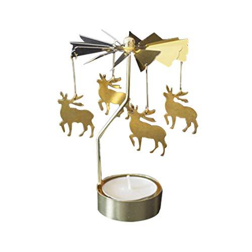 TAOtTAO Hot Spinning Rotary Metall Karussell Teelicht Kerzenhalter Stand Licht Weihnachtsgeschenk Rotierender Kerzenständer aus Metall (C) -