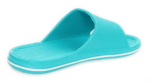 cleostyle Donna Ciabatte da Bagno Ciabatte da Spiaggia Scarpe da Spiaggia Sandali Pantofola 0096 Blu