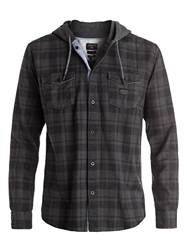 Quiksilver Snap Up Flannel - Long Sleeve Hooded Shirt - Männer (Herren Hemd Quiksilver)
