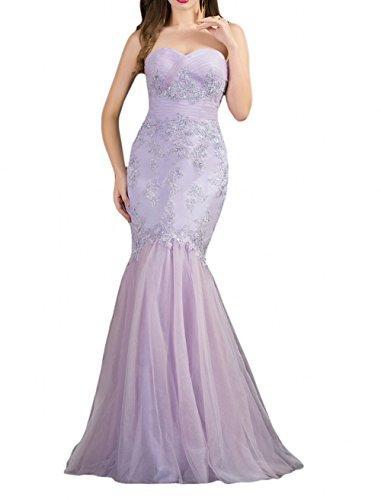 Royaldress Royal Blau Meerjungfrau Spitze Herzausschnitt Festliche Kleider Brautmutterkleider Abendkleider Lang Flieder