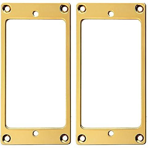 Kmise piatto metallo Humbucker Pickup anello di montaggio oro confezione da 2 - Humbucker Frame
