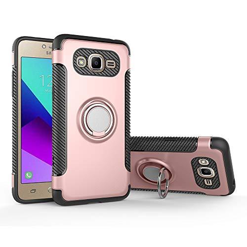 QiongniAN Custodia per Samsung SM-G531F Galaxy Grand Prime Value Edition/SM-G531Y Custodia Case Cover 360 Gradi Anello Magnetico Rotante in Metallo Custodia Pink