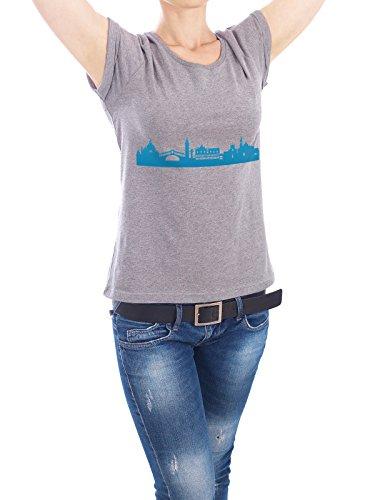 """Design T-Shirt Frauen Earth Positive """"VENEDIG 05 Skyline Print monochrome Teal"""" - stylisches Shirt Abstrakt Städte Städte / Venedig Architektur von 44spaces Grau"""