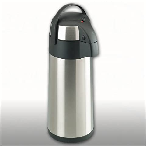 Trendi 5 Litre Stainless Steel Pump Action Vacuum Airpot Flask Jug - Ideal For Hot And Cold Beverages Drinks Tea Coffee