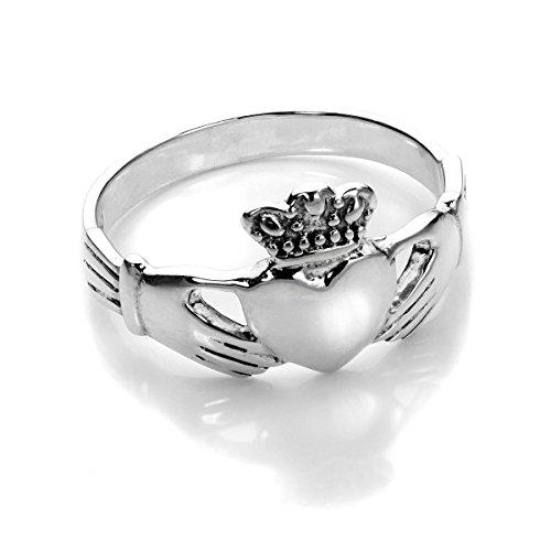 Sterling-Silber Polierter Claddagh Keltischer Herz Ring | Ringgröße: 62 (Innendurchmesser 19,7mm) | Erhältliche Ringgrößen 49 - 63