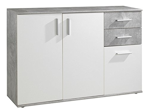 Kommode Sideboard Anrichte BENITO | Weiß | Betonoptik | 2 Schubladen | 3 Türe | 120x82x3