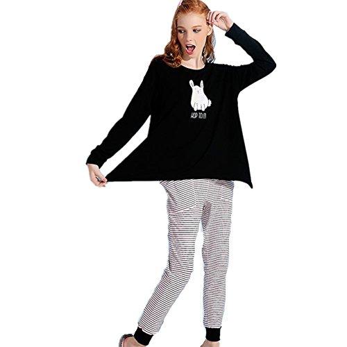 DMMSS Casa vestiti moda fumetto stampato accappatoi - a donna maniche lunghe cotone era sottile Wai Waichuan pigiama Set , picture color , s
