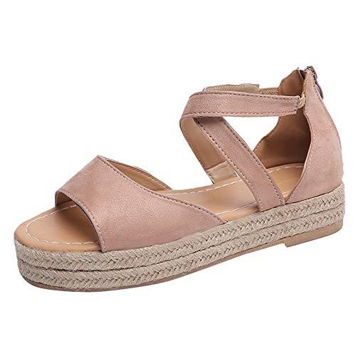 Fenverk Damen Keilsandalen Sommer Keil Peeptoe Fesselriemen Schnalle Sandaletten Elegant Flatform Schuhe Schwarz, Braun, Pink 35-43 EU(Pink A,35 EU)