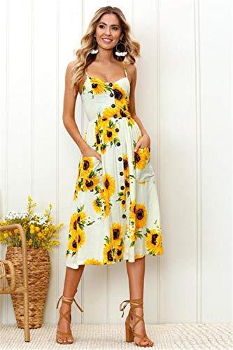 JDSXXZ Mode sexy Kleid Blume gedruckt Sling Midi Kleid Open Back Rock, gelb, XL - Open-back-pullover-kleid