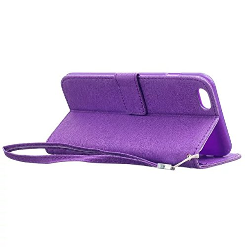 iPhone Case Cover gemalt bunte Folio magnetische Design Flip Brieftasche Stil Fall Muster PU-Leder-Abdeckung Standup-Abdeckungsfall für iPhone 6 6S Plus ( Color : Rose , Size : IPhone 6S Plus ) Purple