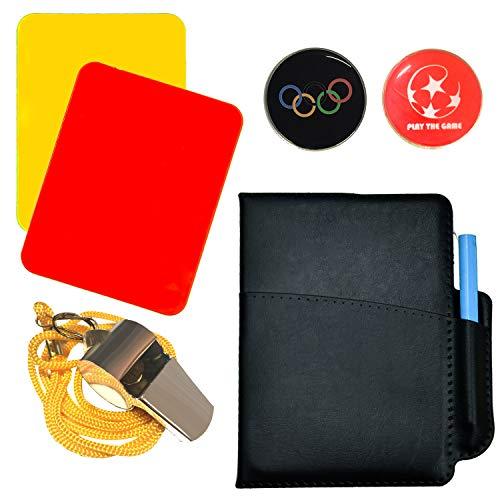 SANTOO Schiedsrichter Set, 5-teilig Schiedsrichterset - Trainer Pfeife, Schiedsrichter-Wählmarke, Rote und Gelbe Karten für Fußball Sports Fußballspiel