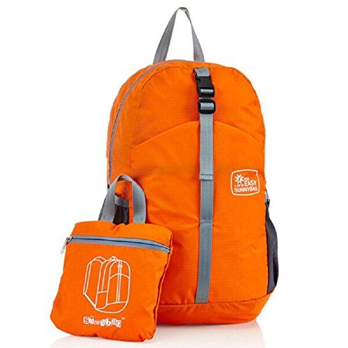 Rucksack für Herren und Damen Ultraleicht Rucksack 25L Daypack von OnForward,Faltbarer Rucksack für Outdoor Wandern Reisen Rucksack Schwarz Orange