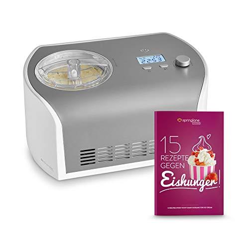 emma eismaschine Eismaschine Elli 1,2 L mit selbstkühlendem Kompressor 135 Watt, inkl. Rezeptheft, Ice-Cream-Maker aus Edelstahl mit Abschaltautomatik, entnehmbarem Eisbehälter & LCD Display