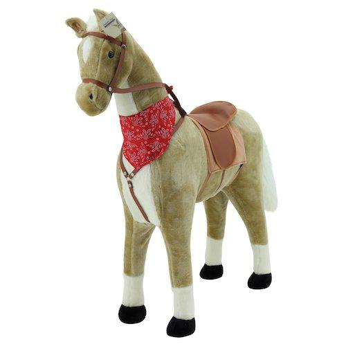"""Sweety Toys 5765 Plüsch Pferd XXL Riesenpferd Stehpferd Standpferd \""""Goldie\"""" Größe ca.110 cm Kopfhöhe bis 80 kg belastbar, Farbe beige Haflinger mit weißer Mähne und weißem Schweif mit Sattel und Pferdedecke Zaumzeug"""