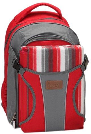 Preisvergleich Produktbild Rucksack Wickeltasche - Baby Rucksack von Three Little Imps - große Reisetasche - rote Streifen w Grund Decke/Picknick-Decke und wasserdichte Baby Matte