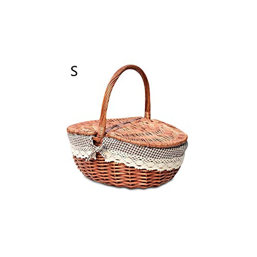 Gezellig Vesper Baskets Picknick-Korb Hand Made Wicker Taschen Camping Picnicbasket Einkauf Lagerung Picknicknahrungsmittelkorb Woven Fruit Speicher-Korb, S -