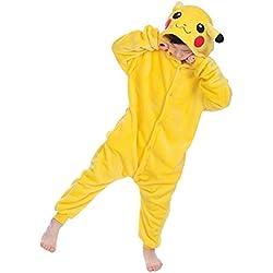"Dolamen Niños Unisexo Onesies Kigurumi Pijamas, Niña Traje Disfraz Animal Pyjamas, Ropa de dormir Halloween Cosplay Navidad Animales de Vestuario (130-140CM (51 ""-55""), Pikachu)"