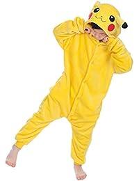 YAOMEI Enfant Kigurumi Combinaison Pyjama Onesies, Fille Garçon Fleece Anime Cosplay Halloween Noël Fête Costume Soirée de Déguisement Vêtement de Nuit